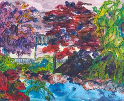 Lauriston Castles Japanese Garden Acrylic On Board 21 X 15 Cm £300