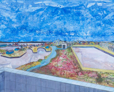 Leith Docks Scottish Government From Ocean Terminal Acrylic On Card 90 X 64 Cm £1000