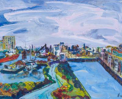 Leith Docks Acrylic On Board 21 X 15 Cm £300
