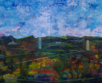 Leith Pentlands Scottish Government Arthurs Seat Calton Hill And Castle From Ocean Terminal I Ii Acrylic On Canvas 150 X 150 Cm £4000 Each