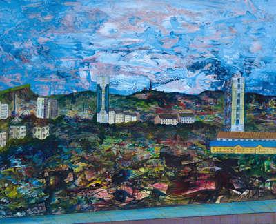 Leith With Arthurs Seat And Calton Hill Acrylic On Card 90 X 64 Cm £1000