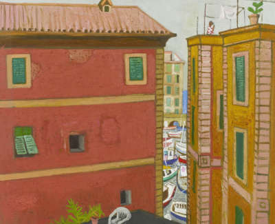Leon Morrocco Rsa Rgi A View To The Harbour Camogli Italy Oil On Canvas 91 X 86 Cm