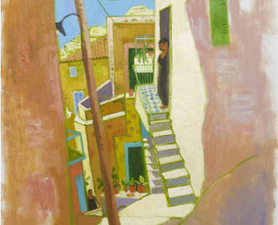 Leon Morrocco Rsa Rgi Alleyway In The Afternoon Old Town Oil On Canvas 160 X 91 Cm
