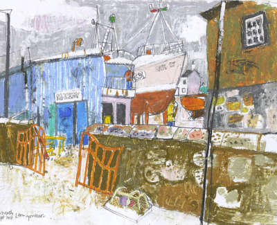 Leon Morrocco Rsa Rgi Boat Yard Arbroath Pencil And Oil Pastel 30 X 42 Cm