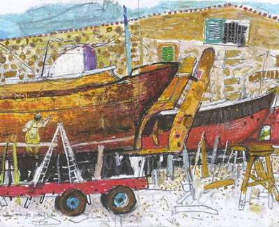 Leon Morrocco Rsa Rgi Boat Yard At Syros Pencil And Oil Pastel 30 X 84 Cm