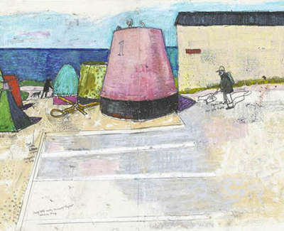 Leon Morrocco Rsa Rgi Buoys Against The Sea Fraserburgh Pencil And Oil Pastel 42 X 115 Cm