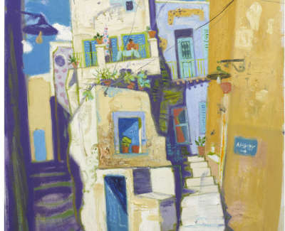 Leon Morrocco Rsa Rgi Coffee Break Old Town Syros Oil On Canvas 160 X 91 Cm