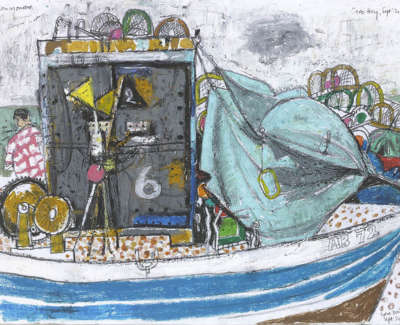 Leon Morrocco Rsa Rgi Fisherman And Boat Cove Bay Pencil And Oil Pastel 30 X 42 Cm