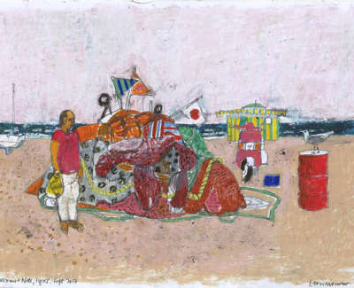 Leon Morrocco Rsa Rgi Fisherman And Nets Syros Pencil And Oil Pastel 30 X 42 Cm