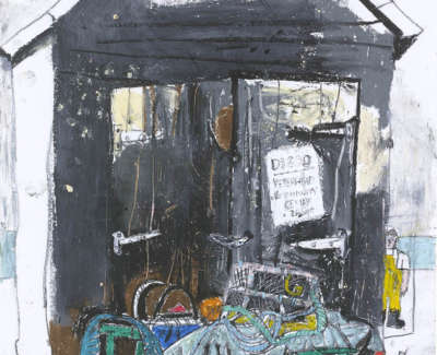Leon Morrocco Rsa Rgi Fishermens Hut Fraserburgh Pencil And Oil Pastel 42 X 30 Cm