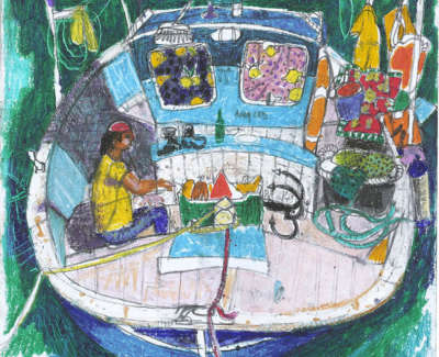 Leon Morrocco Rsa Rgi Fishing Boat Syros Pencil And Oil Pastel 42 X 30 Cm