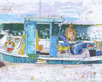Leon Morrocco Rsa Rgi Fishing Boat On Syros Pencil And Oil Pastel 30 X 84 Cm