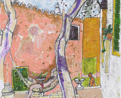 Leon Morrocco Rsa Rgi Garden Syros Pencil And Oil Pastel 42 X 30 Cm