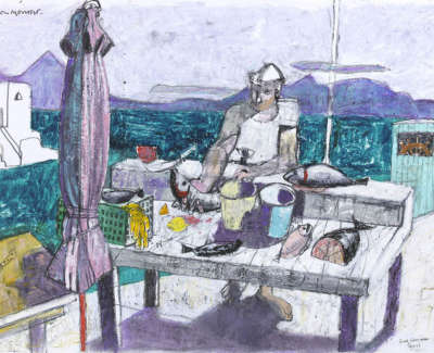 Leon Morrocco Rsa Rgi Greek Fisherman Syros Pencil And Oil Pastel 30 X 42 Cm