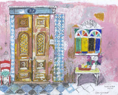 Leon Morrocco Rsa Rgi House In Porto Pencil And Oil Pastel 30 X 42 Cm