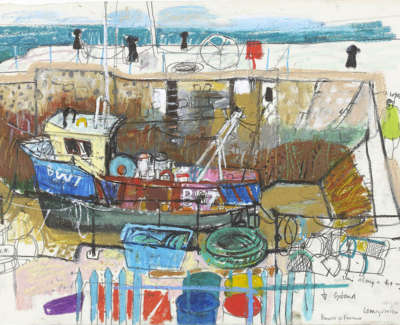 Leon Morrocco Rsa Rgi Low Tide Barrow In Furness Pencil And Oil Pastel 41 X 57 Cm