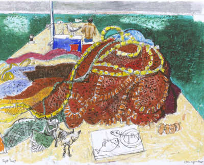 Leon Morrocco Rsa Rgi On The Jetty Syros Pencil And Oil Pastel 30 X 42 Cm