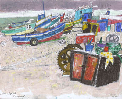 Leon Morrocco Rsa Rgi Resting Boats Cove Bay Pencil And Oil Pastel 30 X 42 Cm