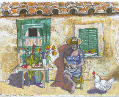 Leon Morrocco Rsa Rgi Shelling Peas Tuscany Pencil And Oil Pastel 30 X 42 Cm