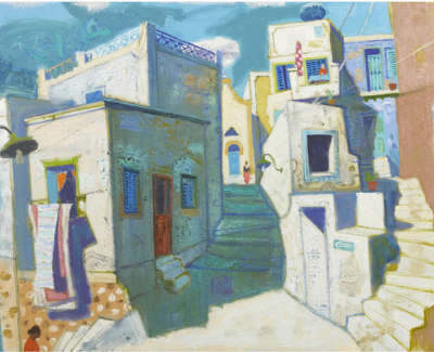 Leon Morrocco Rsa Rgi Steps To Church Old Town Syros Oil On Canvas 91 X 137 Cm