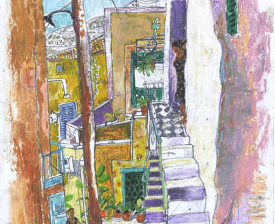 Leon Morrocco Rsa Rgi Study For Early Morning Light Old Town Syros Pencil And Oil Pastel 42 X 30 Cm