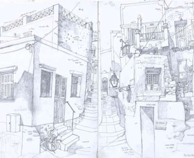 Leon Morrocco Rsa Rgi Study For Steps To The Church Old Town Syros Pencil 60 X 84 Cm