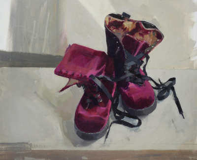Liz Lochheads Boots With Ironed Laces  Oil On Board 35 5 X 44 5 Cm £1400 00