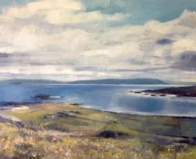 Looking North East From Iona Triptych Oil And Mixed Media With Gold Lead On Canvas 92 X 184 Cm