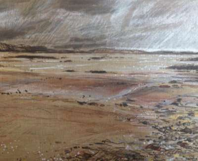 Low Tide Mull Pencil Chalk And Pen On Linen Board 18 X 24 Cm