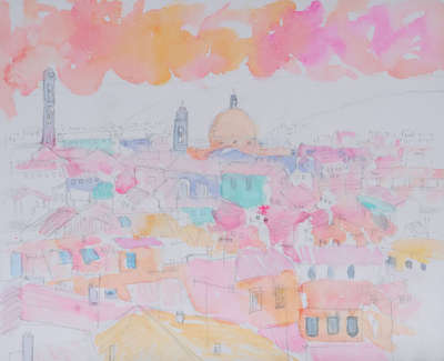 Lungo Arno Firenze Mixed Media Watercolour Coloured Pencils Inks And Gold Leaf 29 X 34 Cm
