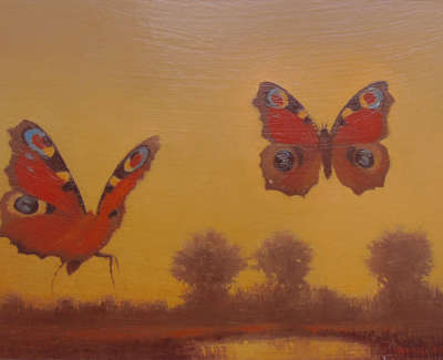 Lynne E  Windsor  Peacock Butterflies With Landscape  Oil On Board £375 00