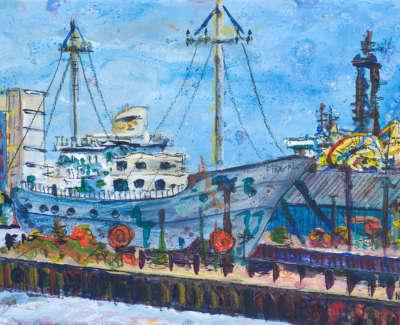 Mv Fingal Acrylic On Board 21 X 15 Cm £300