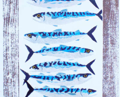 Mackerel Pochoir And Blockprint 46X65Cm Editionnumber 10 14Web