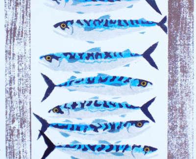 Mackerel Pochoir And Blockprint 46X65Cm Editionnumber 10 14Web