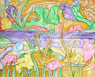 Mirror Lakes Oil On Canvas 300 X 120 Cm 35000