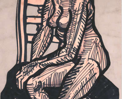 Nude On A Chair Felt Tip Pen And Paper Collage 1954 70 X 48 Cmweb