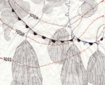 Occluded Fronts To Blame For Withered Figs Technical Pen And Stiching On Paper 19 X 19Cm £195