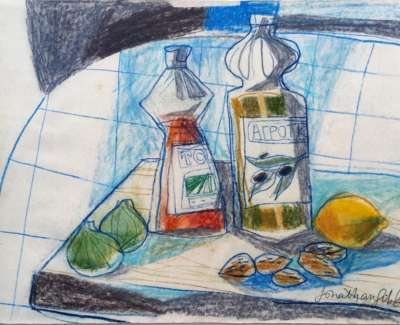 Oil On Vinegar With Lemon And Almonds  Pencil On Paper Edited 21 X 28 Cm