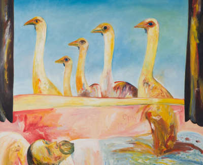 Only An Emu Passing By Oil On Canvas 1985 173X153Cm