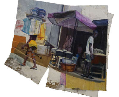 Passing Ouidah Benin  Oil And Mixed Media On Collapsed Cardboard Box 75 X 67 Cm