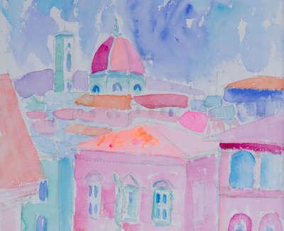Piazza Di Santa Trinita Firenze Mixed Media Watercolour Inks Coloured Pencils And Gold Leaf 26 X 23 Cm