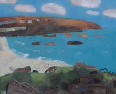 Pink Clouds Over Porthmeor Mixed Media On Linen 100 X 120 Cm £7000