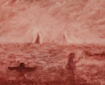 Pink Moon Oil On Board 27 X 20Cm