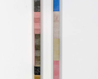 Pink And Blue Mokuhanga On Two Wooden Forms 51 X 9 X 3 Cm