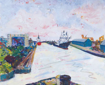Prince Of Wales Dock From Victoria Bridge Leith Acrylic On Board 30 X 30 Cm £400