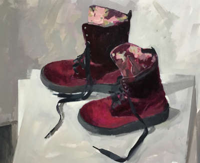 Profile Of Liz Loccheads Boots  Oil On Board 35 5 X 48 Cm £1800 00
