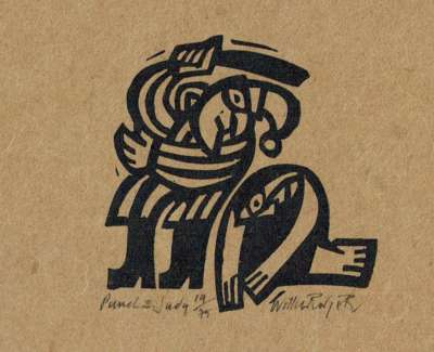 Punch And Judy Linocut 1996 7 X 7 Cm