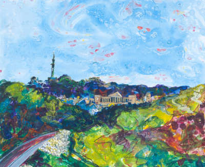 Queens Drive Arthurs Seat Acrylic On Board 30 X 30 Cm £400