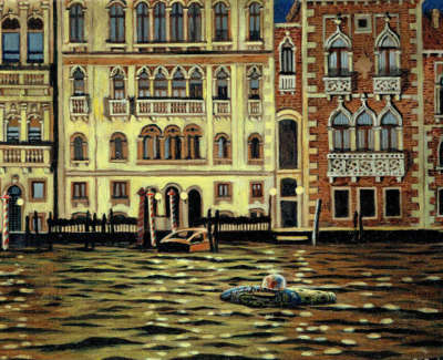 Reinhard Behrens Rsw Rgi  On The Way To The Casino  Acrylic And Oil On Board