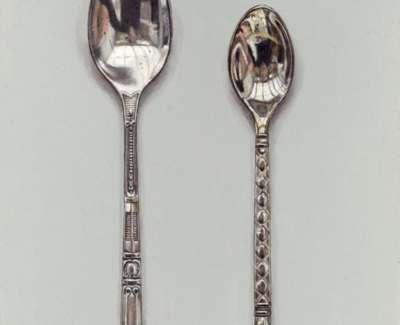 Rachel Ross Two Fancy Spoons Acrylic On Board £500